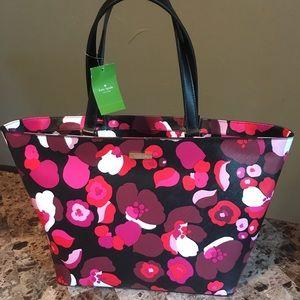 New Kate Spade Jules Red Pink Flower Tote Bag
